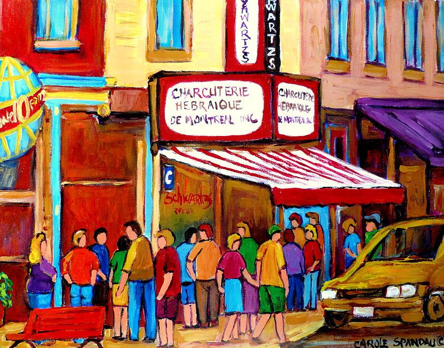 Sandwich Shop Painting - Schwartzs Hebrew Deli Montreal Streetscene by Carole Spandau