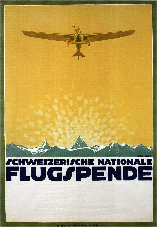 Schweizerische Nationale Flugspende - Flight Donation - Retro Travel Poster - Vintage Poster Mixed Media
