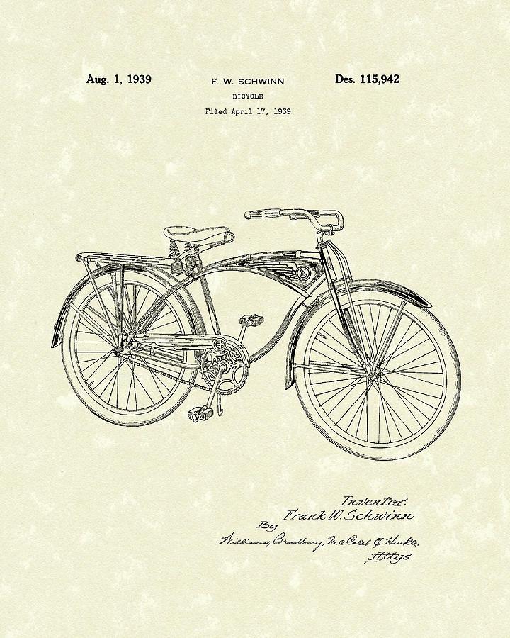 Frank W. Schwinn Drawing - Schwinn Bicycle 1939 Patent Art by Prior Art Design