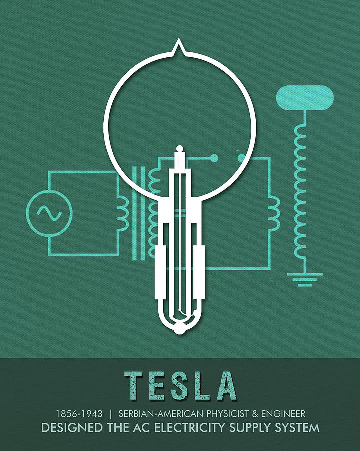 Science Posters - Nikola Tesla - Physicist, Engineer Mixed Media