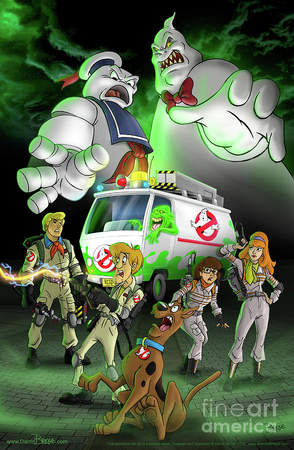 Scooby Doo Digital Art - Scooby/ghostbusters Mash-up by Darrin Brege