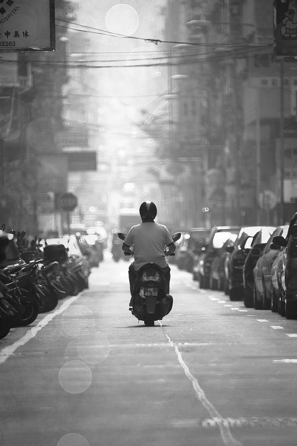Black And White Photograph - Scooter by Kam Chuen Dung