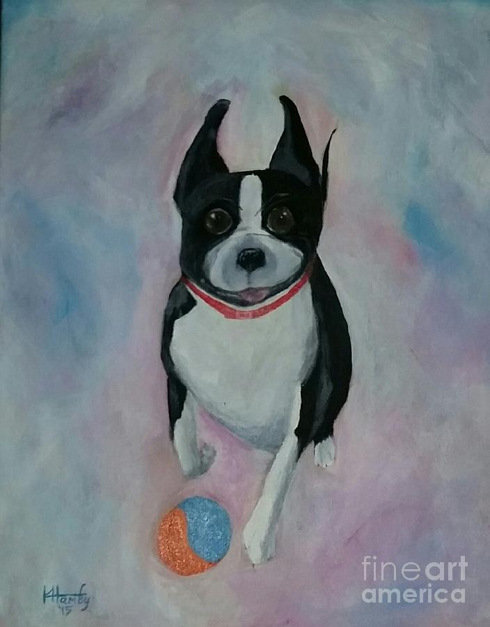 Boston Terrier Painting - Scooter by Karen Hamby