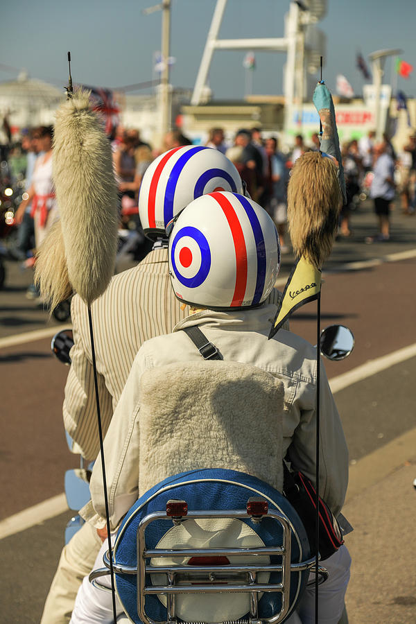 August Photograph - Scooter Mods And Helmets by Haydn Denman