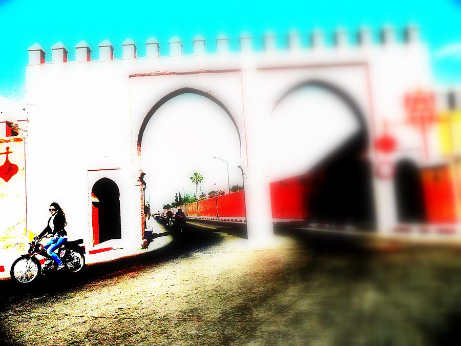 Medina Photograph - Scootering Through A Medina Gate  by Funkpix Photo Hunter