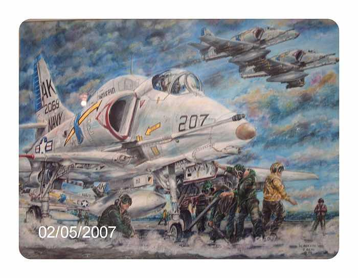 Scooters    A-4s Of The Uss Intrepid About To Launch For Mission Over Vietnam Drawing by James Beal