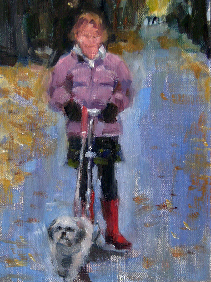 Child Painting - Scooting Down The Street by Merle Keller
