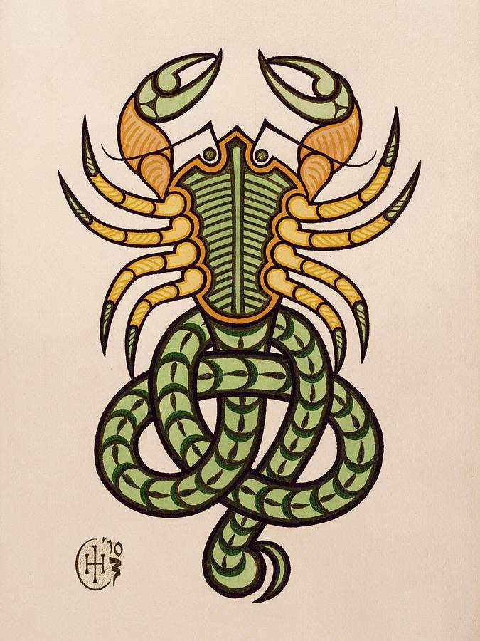 Celtic Zodiac Scorpio Scorpion Knotwork Painting - Scorpio by Ian Herriott