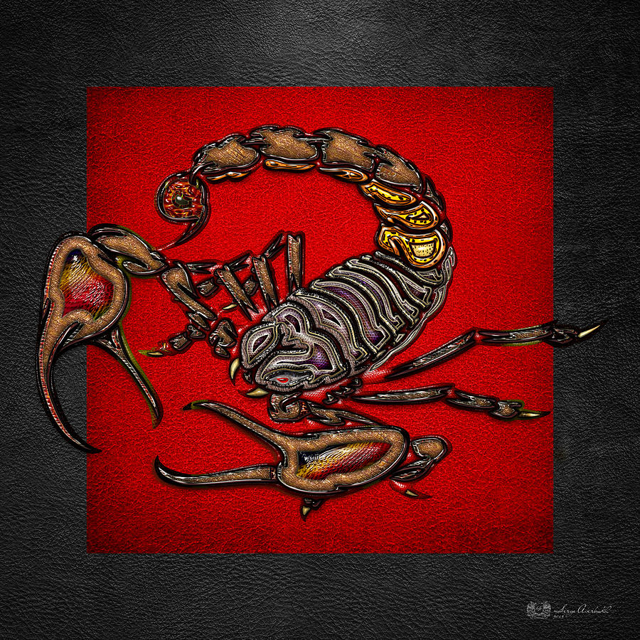Nature Photograph - Scorpion on Red and Black  by Serge Averbukh