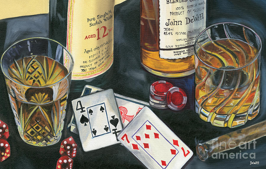 Scotch Painting - Scotch cigars and cards by Debbie DeWitt