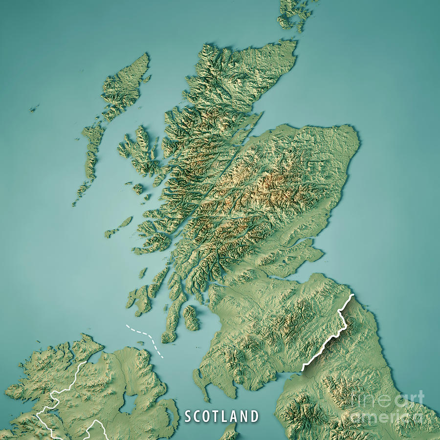 Scotland Country 3d Render Topographic Map Border Digital Art By