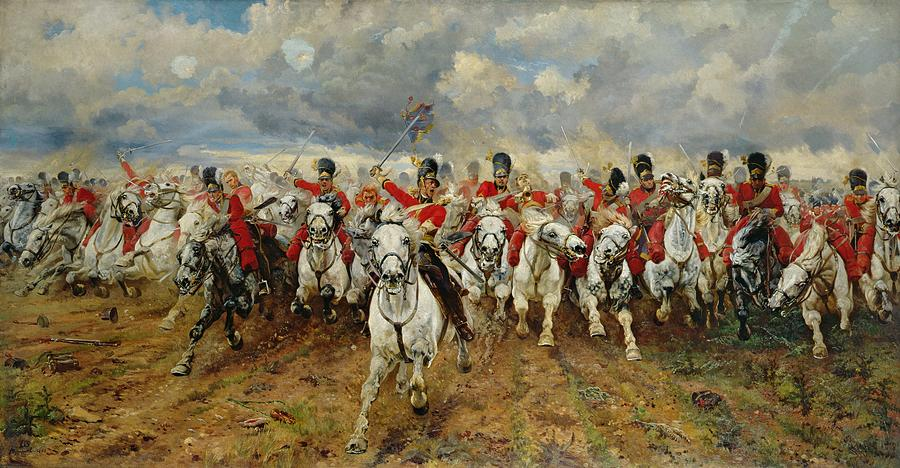 Scotland For Ever! 1881 (oil On Canvas) By Lady Butler (elizabeth Southerden Thompson) (1846-1933) Painting - Scotland Forever by Elizabeth Southerden Thompson