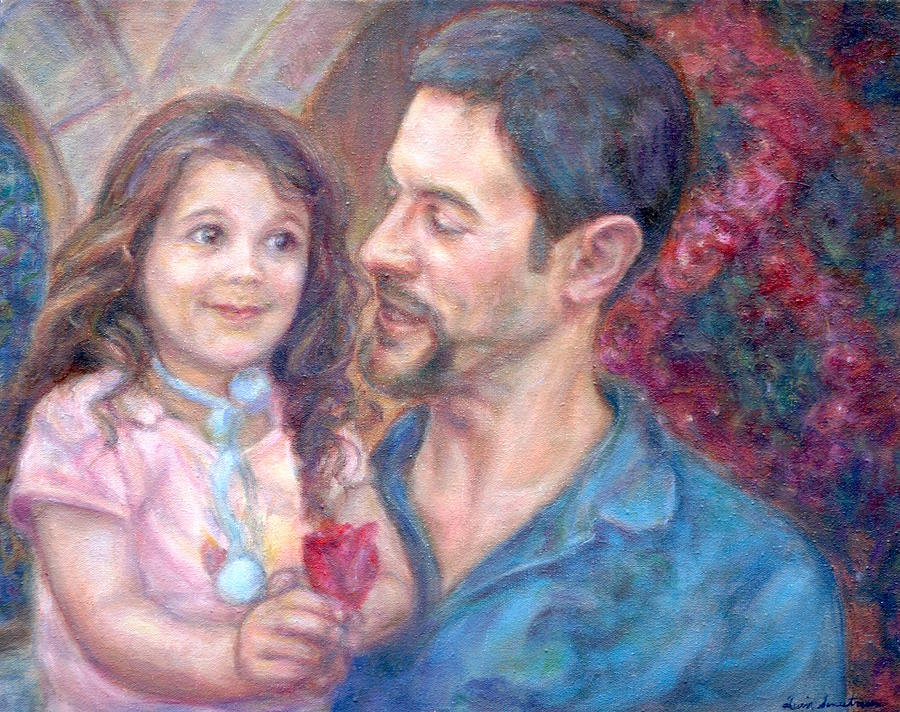 Father Painting - Scott And Sam Commission by Quin Sweetman