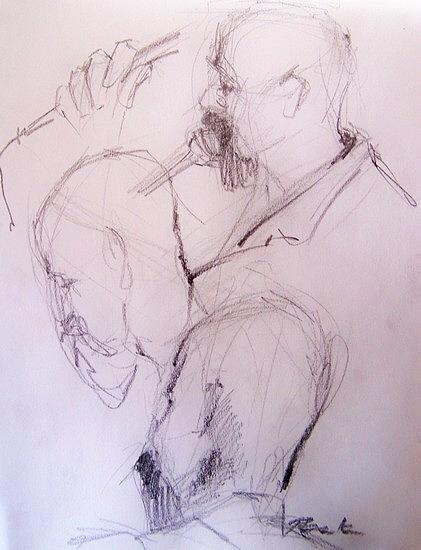 Singer Drawing - Scott Getting It On by Charles Peck