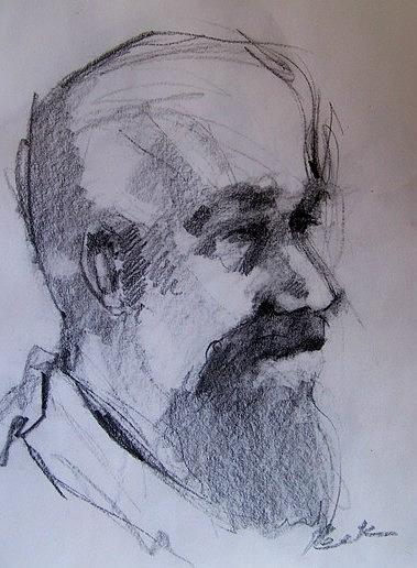 Portrait Drawing - Scott Mitchell by Charles Peck
