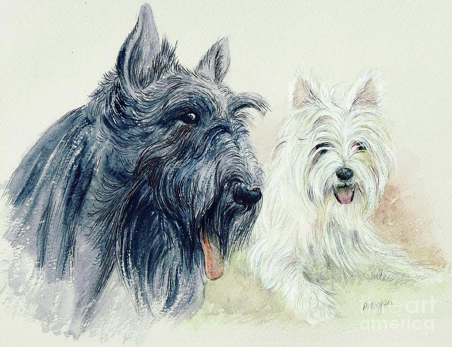 Scottie Painting - Scottie And Westie by Morgan Fitzsimons