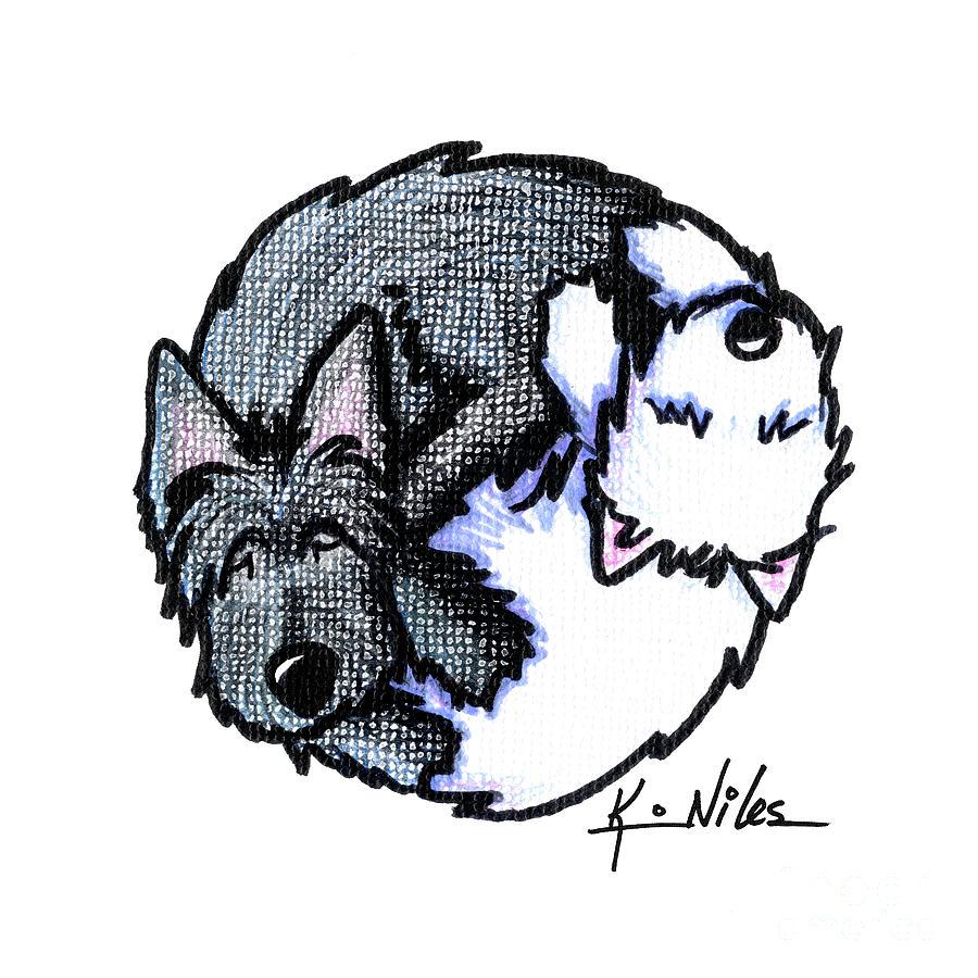 Yin Yang Drawing - Scottie Westie Yin Yang by Kim Niles