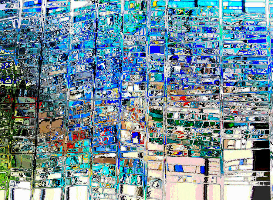 Abstract Digital Art - Scottish Bevel Blue Abstract by Mary Clanahan