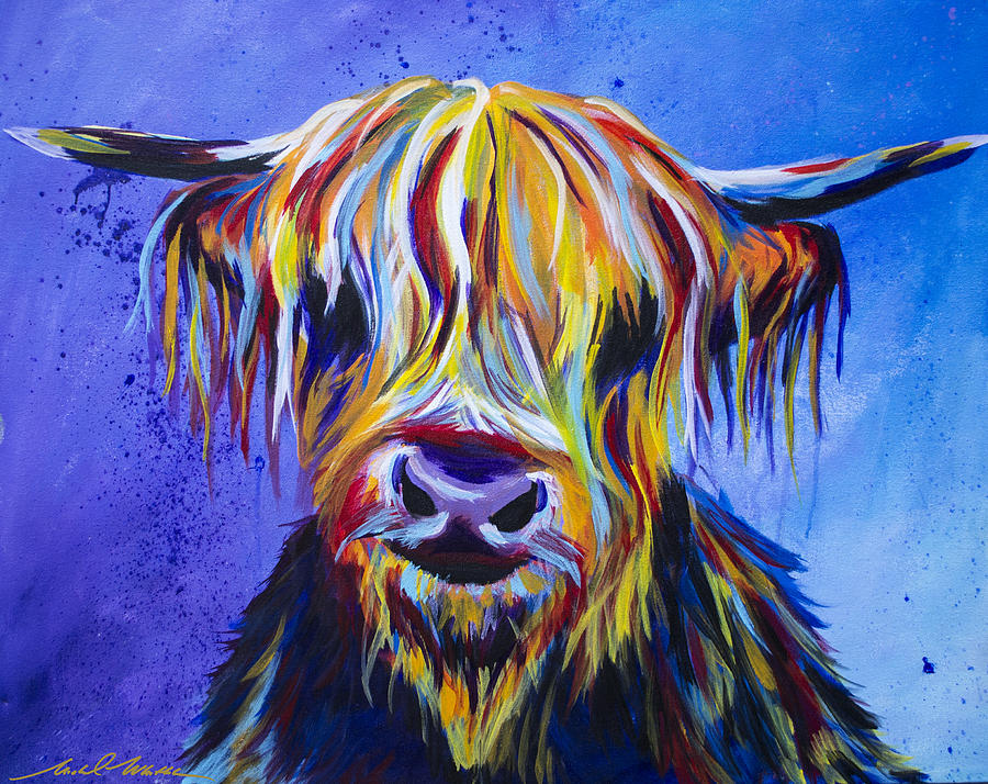Scottish Cow Painting By Michael Whitlark