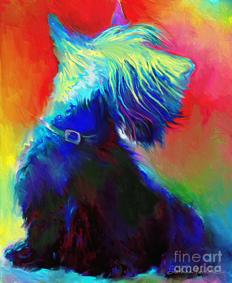 Custom Dog Portraits Painting - Scottish Terrier Dog Painting by Svetlana Novikova