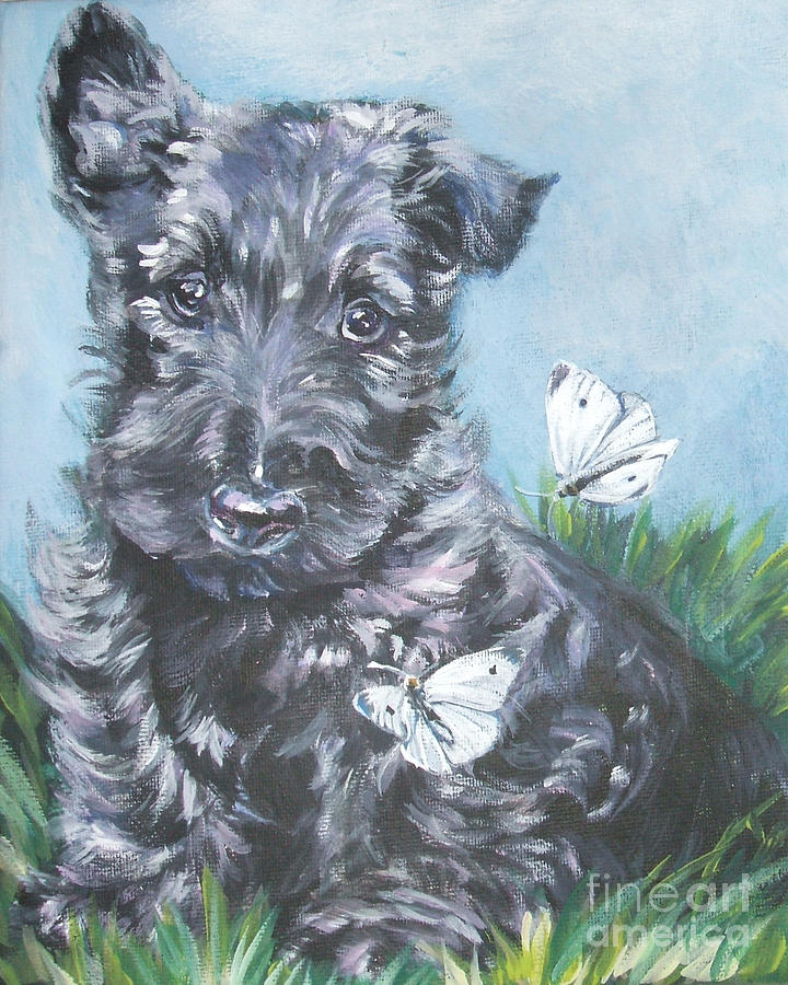 Scottish Terrier Painting - Scottish Terrier With Butterflies by Lee Ann Shepard