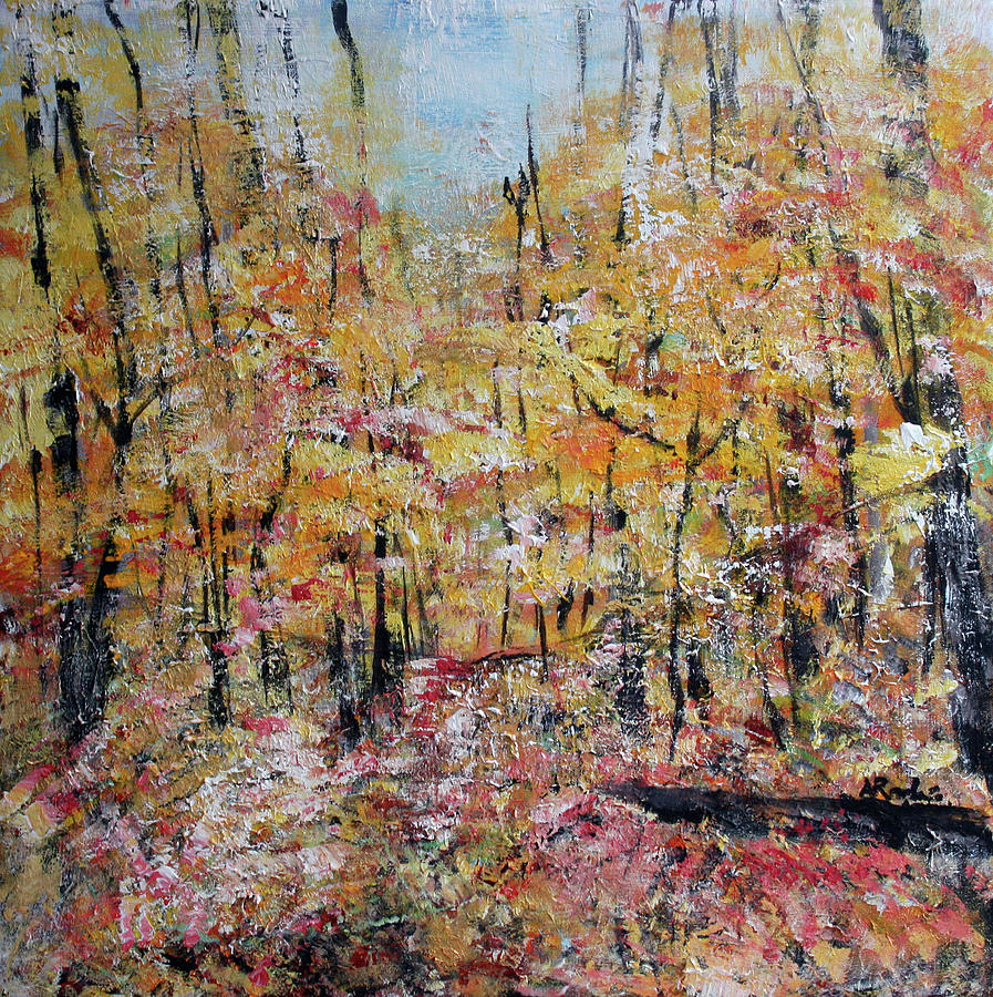 Yellow Forest Painting - Scotts Run Nature Preserve 201803 by Alyse Radenovic