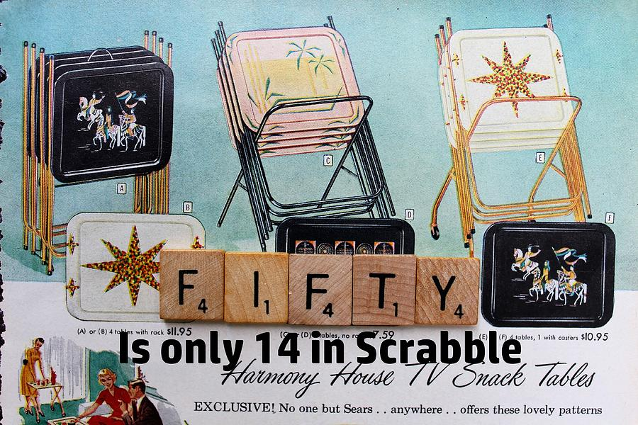 Scrabble Birthday Card Fifty Tv Tray Vintage Photograph By Jane Linders