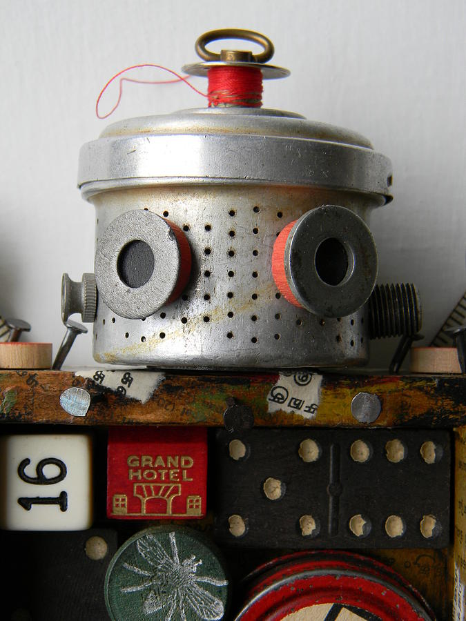 Robot Mixed Media - Scrap Bot by Jen Hardwick