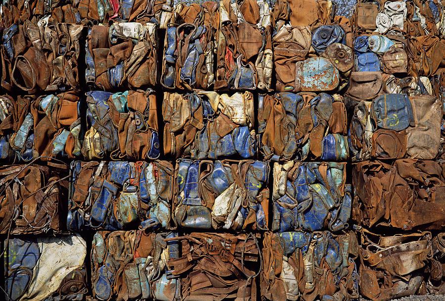 Metal Photograph - Scrap Metal Bales by Dirk Wiersma