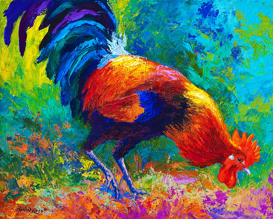 Rooster Painting - Scratchin - Rooster by Marion Rose