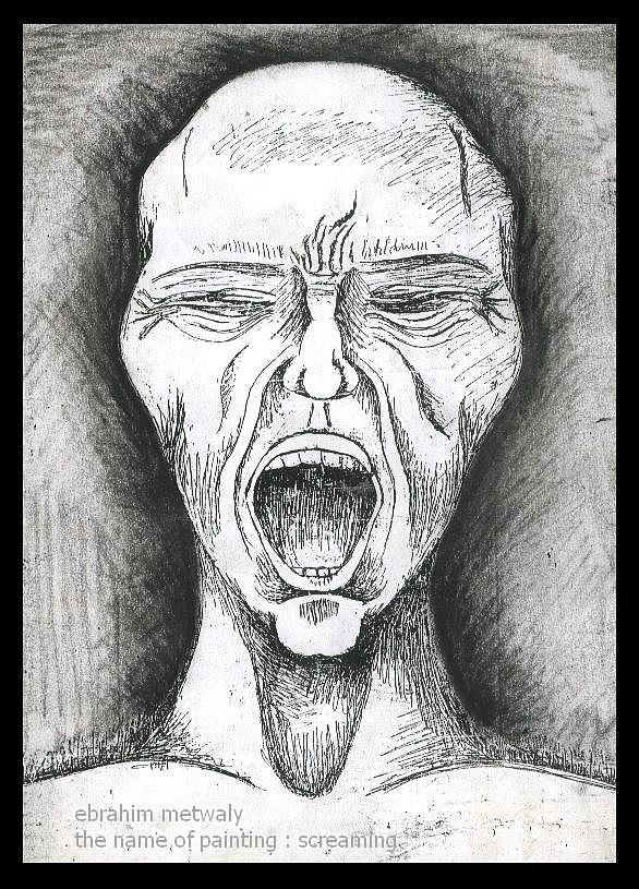 Pain Drawing - Scream by Ebrahim Metwaly