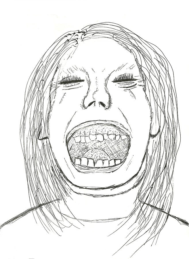 Pen and ink drawing scream like a little girl by shawn ballard