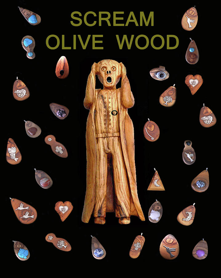 Fashion Jewellery Mixed Media - Scream Olive Wood by Eric Kempson