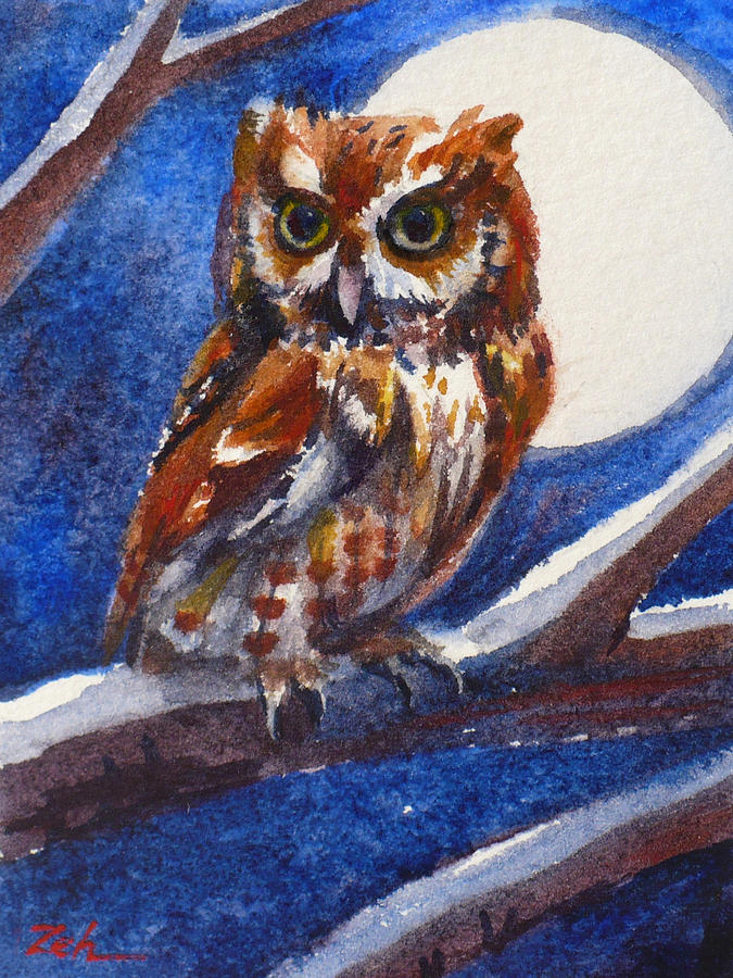 Screech Owl and Full Moon by Janet Zeh