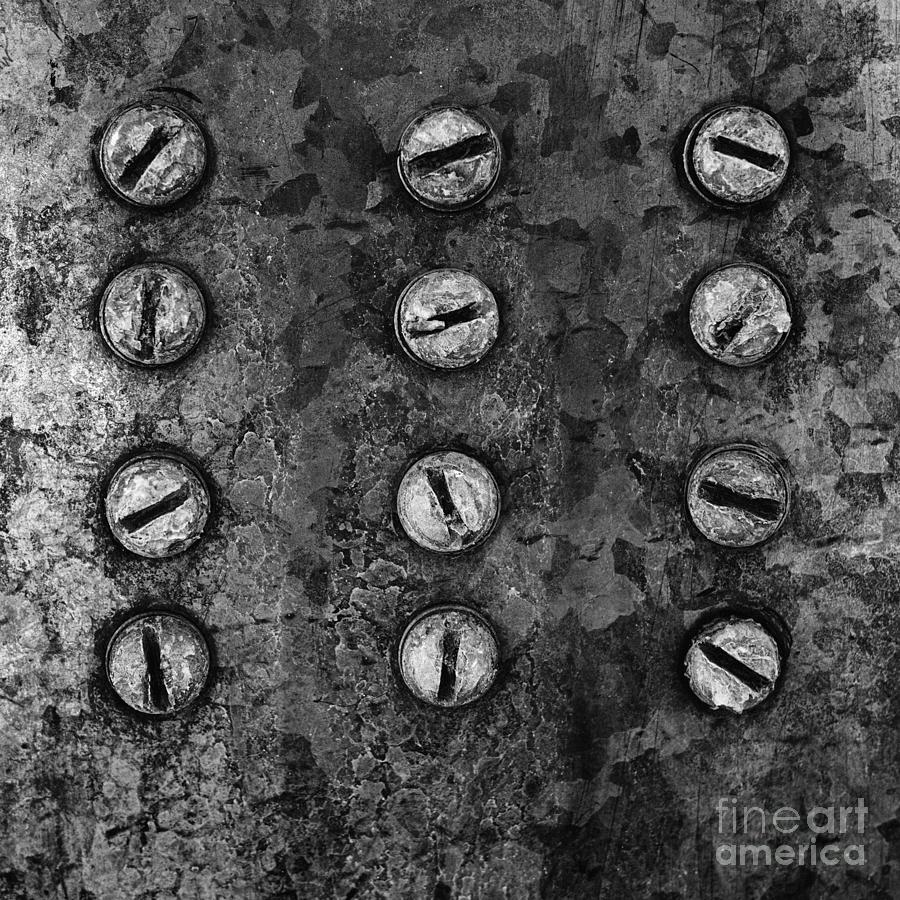 Abstract Photograph - Screws On Utility Box by Dutch Bieber