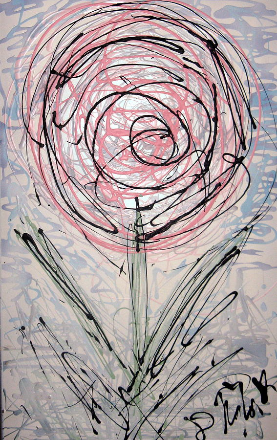 Rose Painting - Scribble Rose by Darryl  Kravitz