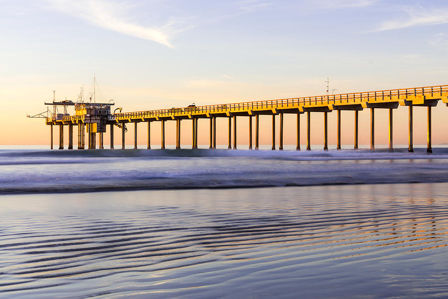 Scripps Pier La Jolla - Golden Glow In Winter by Priya Ghose