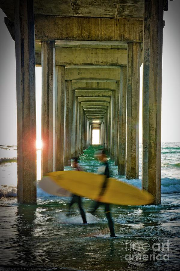 Scripps Pier Surfers Photograph