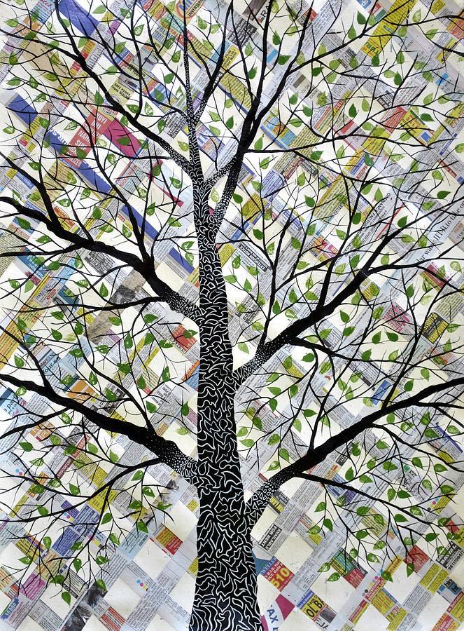 Scriptures Painting - Scripted Tree Likhit Vriksh by Sumit Mehndiratta