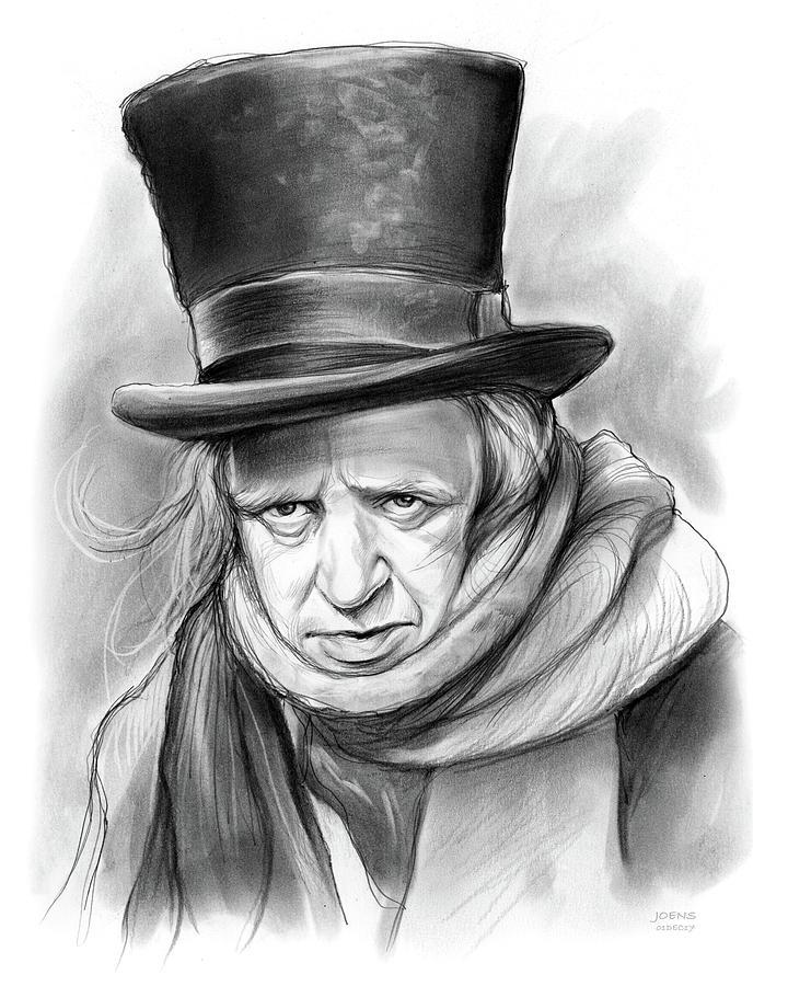 Ebenezer Scrooge Drawing - Scrooge by Greg Joens