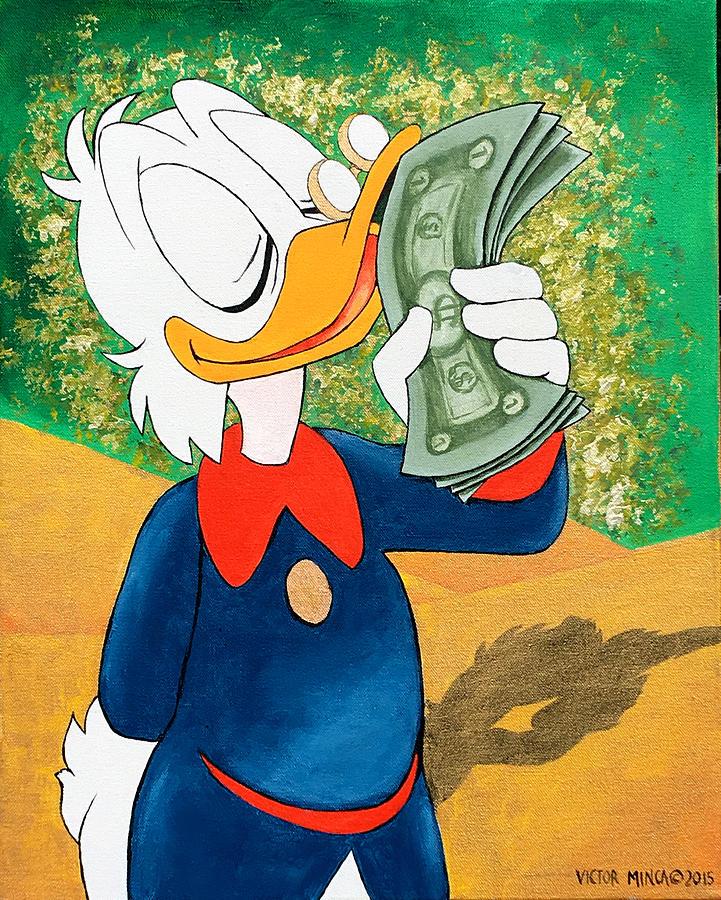 scrooge mcduck kissing money painting by victor minca