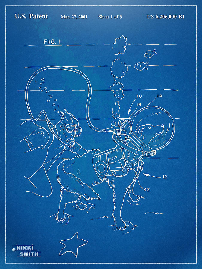 Scuba Digital Art - Scuba Doggie Patent Artwork 1893 by Nikki Marie Smith
