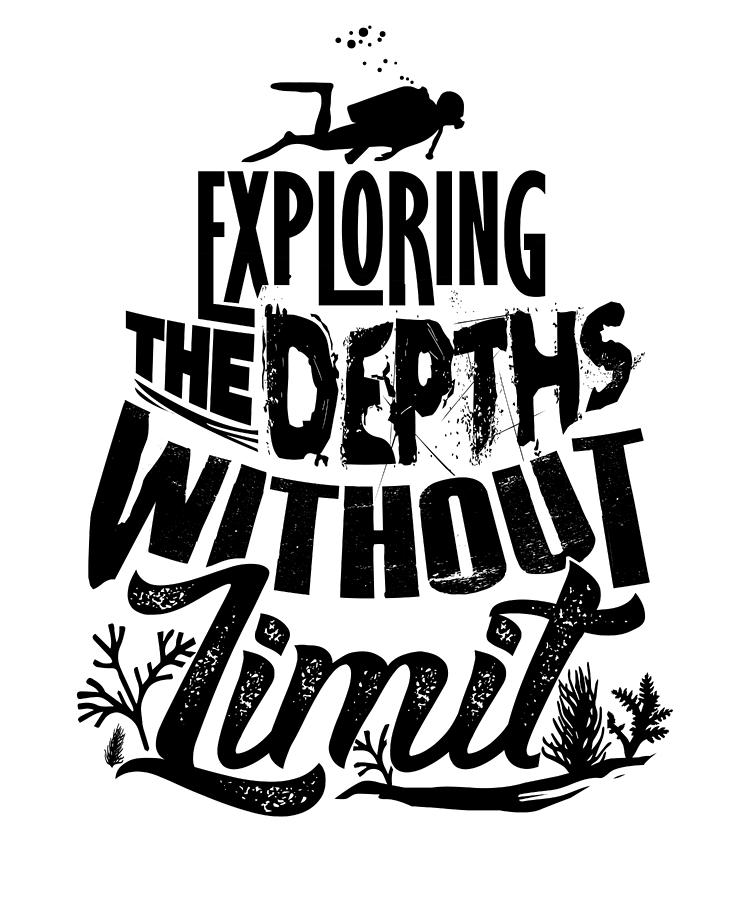 scuba exploring depths without limit diver drawing by kanig designs