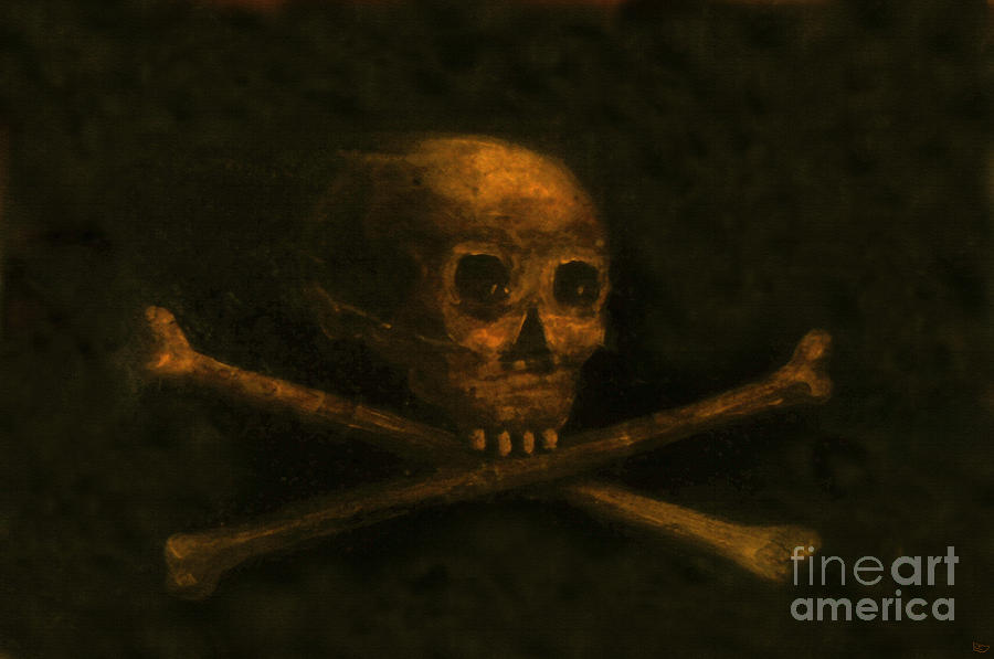 Grave Painting - Scull And Crossbones by David Lee Thompson