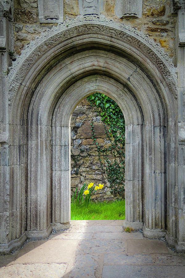 Clonmacnoise Photograph - Sculpted Portal To Irish Spring Garden by James Truett