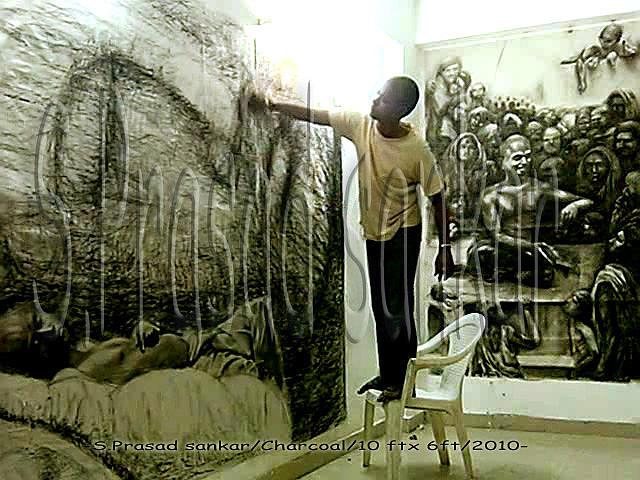 Sculptorprasad Work In Progress Drawing by Prasad Sankar