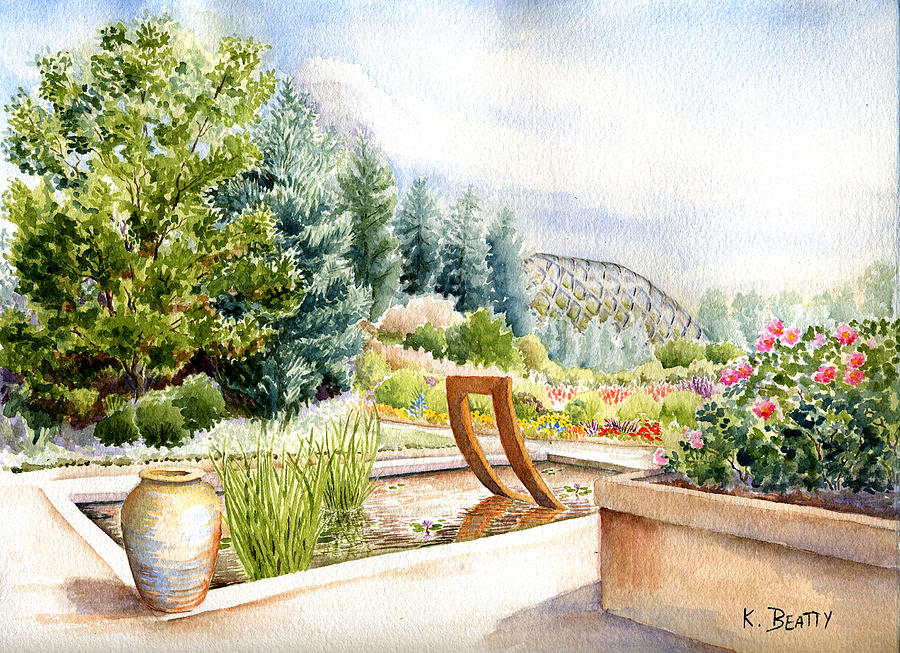Watercolor Landscape Painting - Sculpture Pool At Denver Botanic Gardens by Karla Beatty