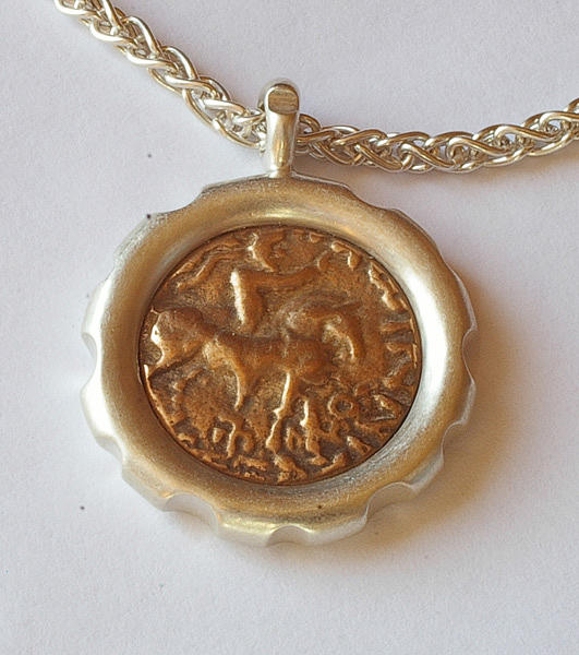 Coin Jewelry - Scythian King Ancient Coin Necklace by Clayton Peshlakai