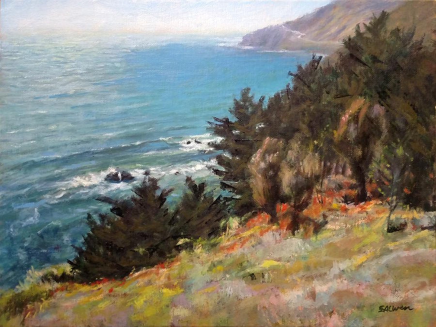 Landscape Painting - Sea And Pines Near Ragged Point, California by Peter Salwen