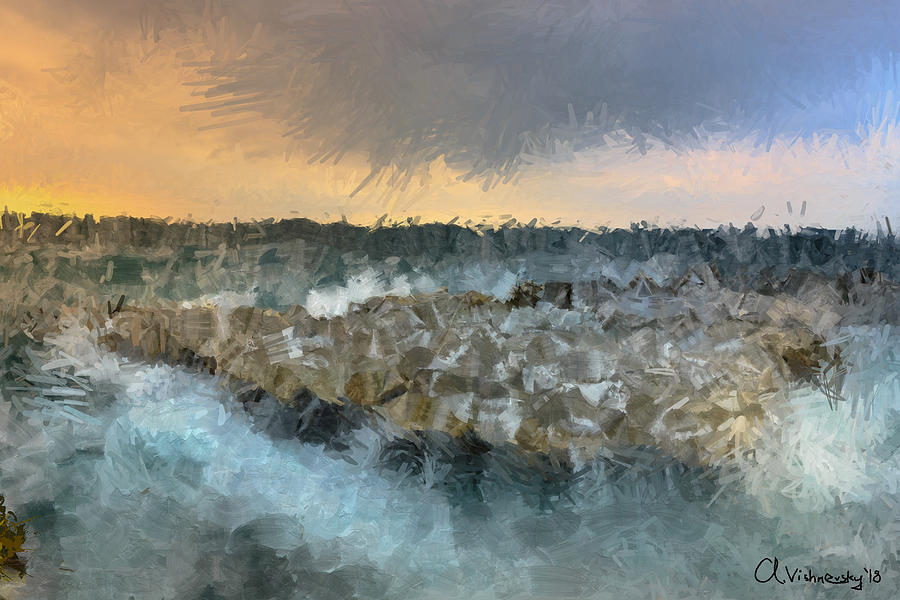 Sea Painting - Sea And Stones by Alexander Vishnevsky